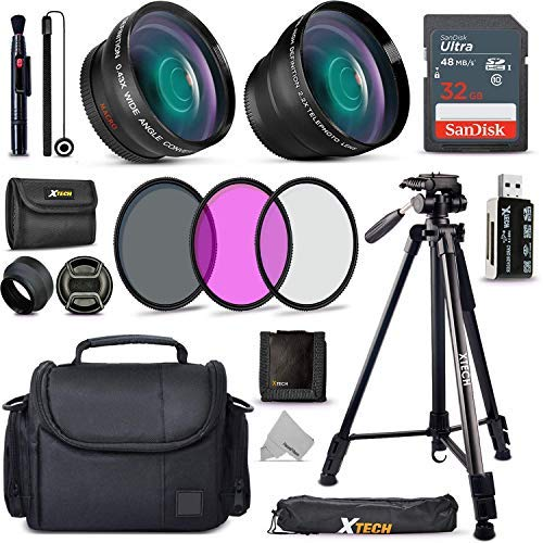 Xtech Accessory Kit f/Canon Rebel T8i, T7, T7i, T6, T6i, T5, T5i SL2, SL3, EOS 70D, 77D, 80D 90D DSLR Camera Includes 58mm Wide / 2X Telephoto Lens, Filters, Case, 72' Tripod, Accessories Bundle +More