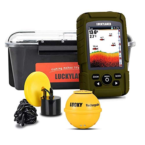 LUCKY Wireless Handheld Fish Finders Boat Wired Transducer Fishing Finder Sensor Sonar Waterproof Portable Depth Finders for Ice Fishing Sea Fishing Kayak