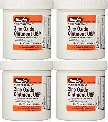 Zinc Oxide 20% Skin Protectant Ointment for Diaper Rash, Chaffed Skin 1 Lb. Jar Pack of 4 Jars Total 4 Lb's (4)