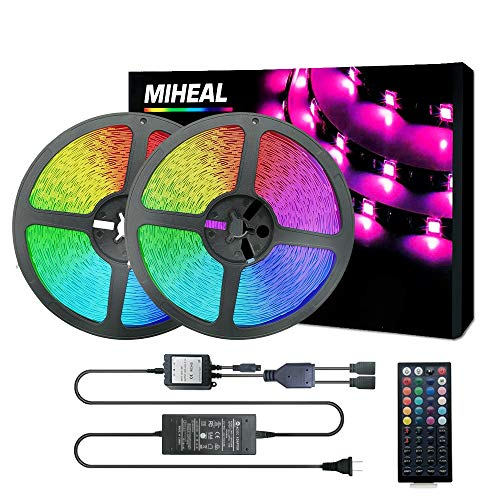Miheal Led Strip Lights Kit 65.6ft(20M) 5050 SMD RGB Flexible LED Tape Lights Non-Waterproof with DC24V UL Power Supply 44Key IR Remote Controller for Under Cabinet Lighting Bedroom, Living Room Black