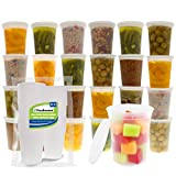 Freshware Food Storage Containers [24 Set] 32 oz Plastic Deli Containers with Lids, Slime, Soup, Meal Prep Containers   BPA Free   Stackable   Leakproof   Microwave/Dishwasher/Freezer Safe