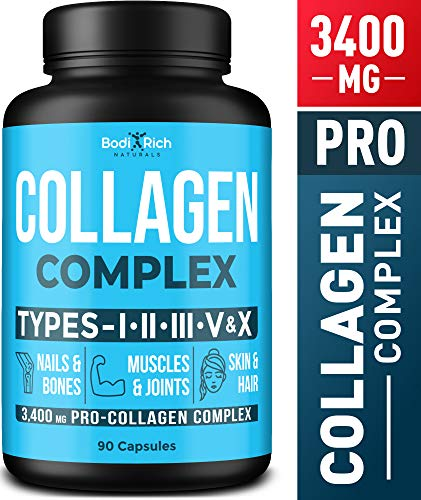 Collagen Peptides Pills - Premium 3400mg Capsules (Types I, II, III, V, X) - Collagen Vitamins for Hair, Skin & Nails - Collagen Supplements - Collagen Capsules for Bones, Muscles & Joints Support