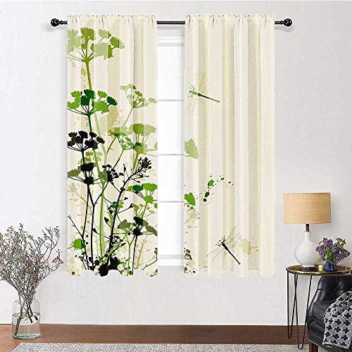 Curtains & Drapes 96 inch Length, Country Decor Rod Pocket Curtains 72' x 96' - Minimalist Foliage and Herbs Illustration with Dragonflies Winged Insects Mystic Animal, Green Beige