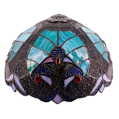 Tiffany Lamp Shade Replacement W12H6 Inch Green Liaison Stained Glass Style for Table Lamps Ceiling Fixture Pendant Light S160G WERFACTORY Bar Living Room Bedroom Study Office Desk Nightstand Bedside