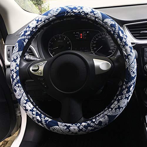 Rayauto 38cm/15inch Automotive Ethnic Cloth Wrap Cute Elephant Universal Car Steering Wheel Cover (Blue)