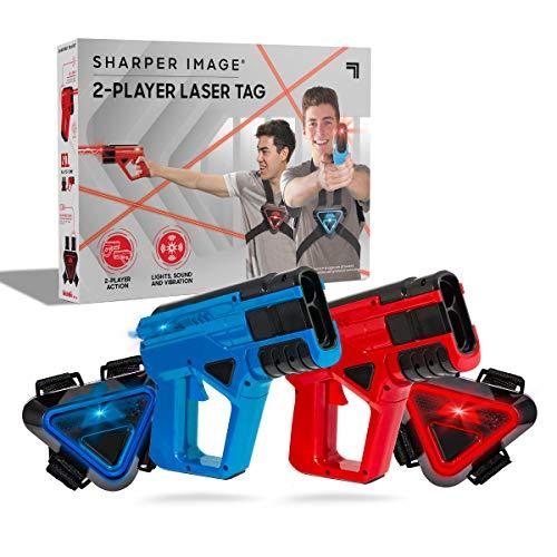SHARPER IMAGE Two-Player Toy Laser Tag Gun & Vest Armor Set for Kids, Safe for Children and Adults, Indoor & Outdoor Battle Games, Combine Multiple Sets for Multiplayer Free-for-All!