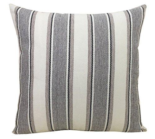 BLUETTEK Cool Stripe Pillow Cases Cotton Linen Square Decorative Throw Cushion Cover-18' x 18' (Light Gray)