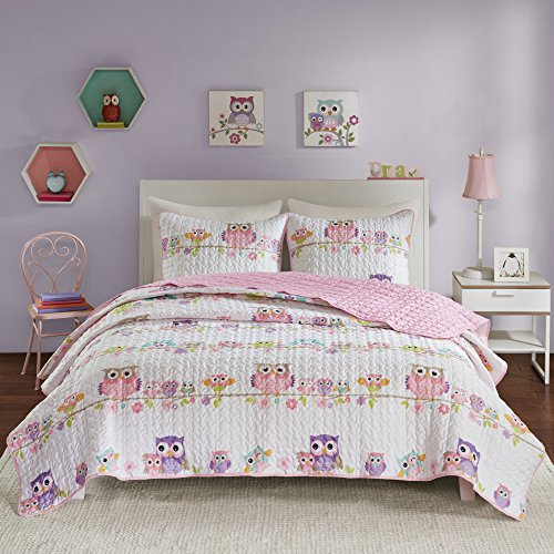 Comfort Spaces Quilt Coverlet Bedspread Print Ultra Soft Hypoallergenic Kids Teens Girls Bedding Set, Full/Queen(90'x90'), Howdy Hoots Owl Pink