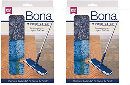 Bona Multi-Surface Floor Microfiber Cleaning Pads, 3 Count (2 Pack)
