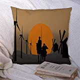 Throw Pillow Covers Silhouette Don Quixote De La Tourism Mancha Toledo Signs Symbols Landmarks Writer Dulcinea Andante Polyester Decorative Square Cushion Cases for Couch Bed Home Decor 16x16 Inch