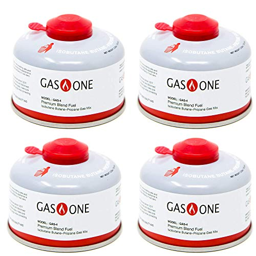 GasOne Camping Fuel Blend Isobutane Fuel Canister 100g (4 Pack)