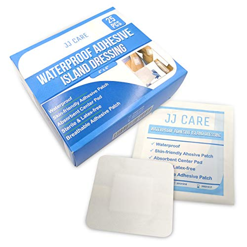 "JJ CARE [Pack of 25] Waterproof Adhesive Island Dressing 4"" x 4"", Sterile Wound Dressing, Adhesive Bandages, Breathable Bordered Gauze Pads, Latex Free, Individually Wrapped, Composite Dressing"