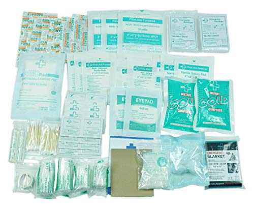 160 Piece First Aid Kit Bag Refill Kit - Includes Eyewash, Instant Cold Pack, Bandages,Emergency Blanket, Moleskin Pad,Gauze - Extra Replacement Medical Supplies for First Aid