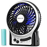 OPOLAR Mini Portable Battery Operated Desk Fan with 3-13 Battery Life, Rechargeable & USB powered Handheld Fan for Desk Beach Camping, 3 Speeds, Strong Airflow, Internal Blue Light& Side Flash Light