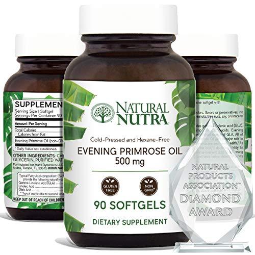 Natural Nutra Evening Primrose Oil Supplement from Fatty Acid, Reduce Acne, Balance Hormones, Reduces Menstrual Cramping, Heart Health, Skin Clarity, Menopausal Discomfort, 500 mg, 90 Softgel