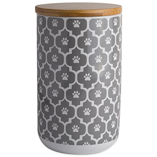 DII Bone Dry Ceramic Pet Treat Storage Canister with Air Tight Lid 4'(Dia) x 6.5' (H), Perfect Food and Treat Jar for Dogs and Cats-Gray Paw Lattice