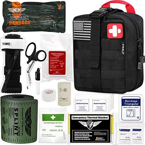 EVERLIT Emergency Trauma Kit GEN-I with Aluminum Tourniquet 36' Splint, Military Combat Tactical IFAK for First Aid Response, Critical Wounds, Gun Shots, Severe Bleeding Control (GEN-1 Black)