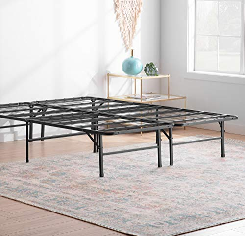 Linenspa14 Inch FoldingMetalPlatform Bed Frame - 13 Inches of Clearance - Tons of Under Bed Storage - Heavy Duty Construction - 5 Minute Assembly- Queen