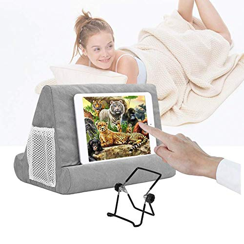 Multi-Angle Soft Pillow for iPads, Tablet Pillow Lap Stand for iPad,eReaders, Smartphones, Books, Magazines Tablet Stand Pillow Holder Gray