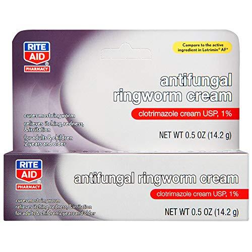 Rite Aid Antifungal Ringworm Clotrimazole Cream, 0.5 oz (15 g) | Antifungal Cream | Jock Itch Treatment | Anti Fungal Skin Cream Treats Athlete's Foot Cream | Antifungal Cream for Skin