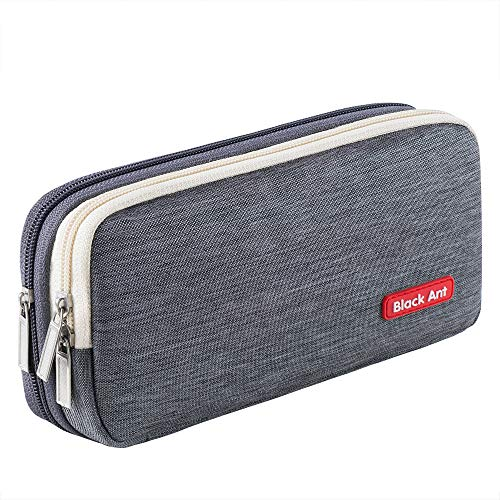 Puroma Pencil Case with 2 Compartments, Zipper Large Storage Pens Pouch Bag for Student Office College Middle School High School, Gray