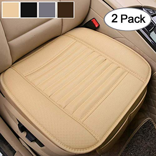 Bigant Car Seat Cushion, 2PC Breathable Car Interior Seat Cover Cushion Pad Mat for Auto Supplies Office Chair with PU Leather(Beige)