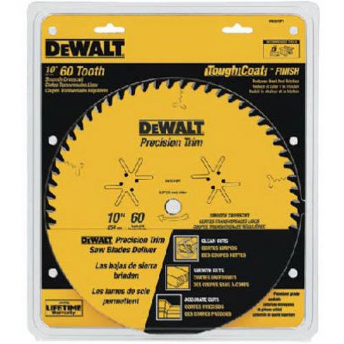 DEWALT 10-Inch Miter / Table Saw Blade, ATB, Crosscutting, 5/8-Inch Arbor, Tough Coat, 60-Tooth (DW3215PT)