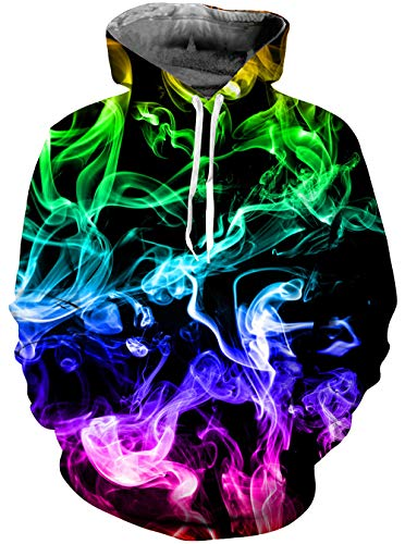 Unisex Adult Fleece Hoodie Jackets Funny Design Multicolor Smoke Smog 3D Digital Printed Long Sleeve Warm Hooded Sweatshirts with Big Pocket for 80s Womens Man Winter Casual Wear Outfits X-Large XL
