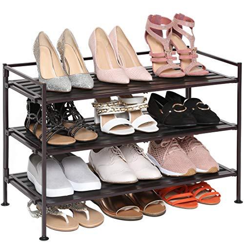 Seville Classics 3-Tier Stackable 12-Pair Shoe Rack Wood Resin Metal Freestanding Storage Shelf for Bedroom, Closet, Entryway, Dorm Room, Espresso Slat