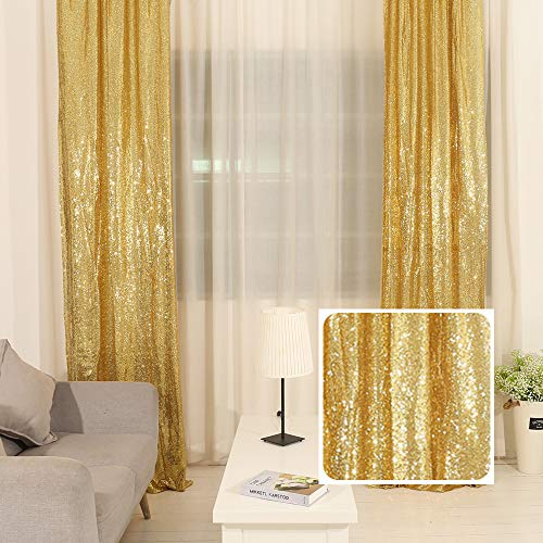 TRLYC 36'84' Gold Sequin Wedding Backdrop 3Ft7Ft Sparkly Party Decoration And Curtain