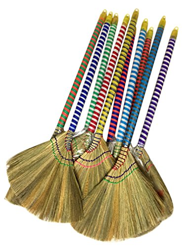 Caravelle Choi Bong Co Vietnam Hand Made Straw Soft Broom with Colored Handle 12' Head Width, 40' Overall Length -1pc
