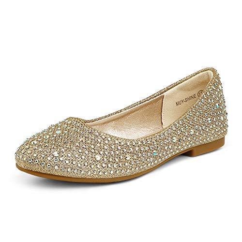 DREAM PAIRS Little Kid Muy-Shine Gold Glitter Girl's Mary Jane Ballerina Flat Shoes - 2 M US Little Kid