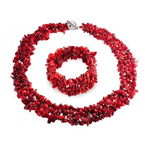 Red Dyed Coral Cluster Chips Bib Statement Collar Necklace Stretch Bracelet Jewelry Set for Women