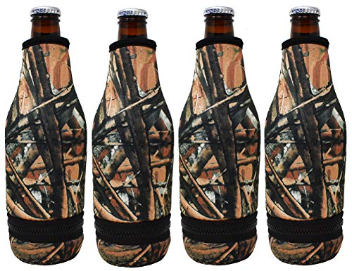 TahoeBay 4 Beer Bottle Sleeves - Easy-On Bottom Zipper - Extra Thick Neoprene Blank Drink Cooler (Camo, 4)