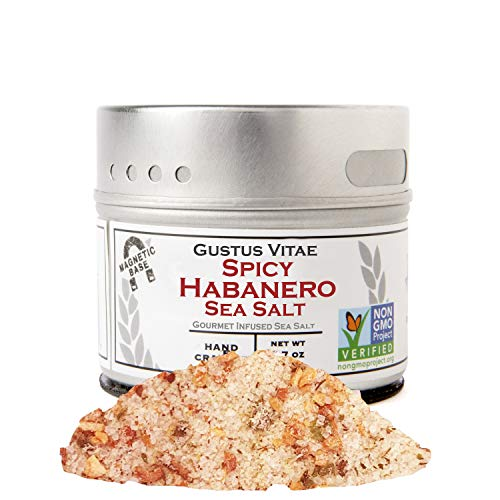 Gustus Vitae - Spicy Habanero Sea Salt - Non GMO Verified - Magnetic Tin - Gourmet Infused Salt - Crafted in Small Batches