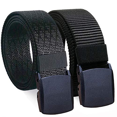 WYuZe 2 Pack Black Nylon Belt Men Military Web Belt 1.5' Tactical Webbing Belt Waist-below 42'