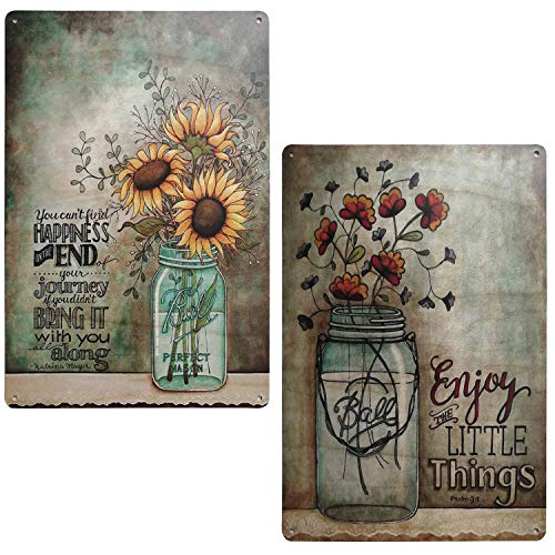 TISOSO Enjoy The Little Things Colorful Sunflower Retro Vintage Tin Sign Primitive Country Farmhouse Home Decor Sign 2Pcs-7.8X11.7Inch