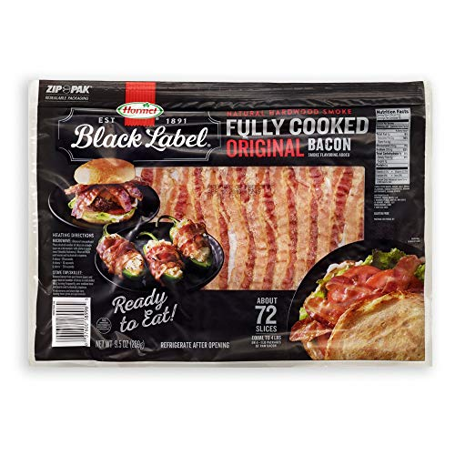 Hormel Black Label Fully Cooked Bacon (72 Slices) - PACK OF 2