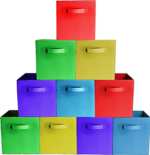 [10-Pack,Assorted Colors] Durable Storage Bins, Containers, Boxes, Tote, Baskets| Collapsible Storage Cubes for Household Organization | Fabric & Cardboard| Dual Handle | Foldable Shelves Storages