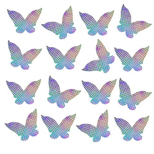 Bird Deterrent Window Decals for Bird Strikes, Anti Collision Alert Stickers to Deter Birds, Stop Birds Flying Into Windows, Butterfly, 16 Pieces