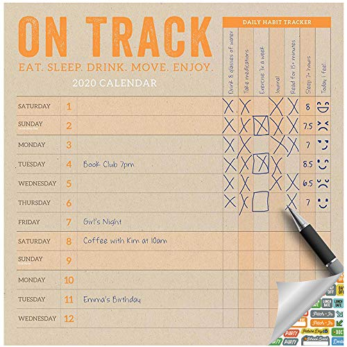 Daily Habit Tracker Calendar 2020 Set - Deluxe 2020 On Track Planner Wall Calendar with Over 100 Calendar Stickers (Organization Gifts, Office Supplies)