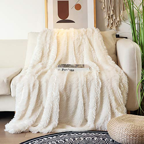 Decorative Extra Soft Faux Fur Blanket Queen Size 78' x 90',Solid Reversible Fuzzy Lightweight Long Hair Shaggy Blanket,Fluffy Cozy Plush Fleece Comfy Microfiber Blanket for Couch Sofa Bed,Cream White