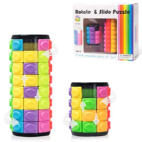 R.Y.TOYS Rubix Cube,Fidget Cube Toy,Magic Cube Puzzle,Brain Teasers for Adults,Cylinder Rotate&Slide Logic Restless Hand Toy,Trick Puzzle Game,Gift for Kids Child(8Colors:4Layers+8Layers)