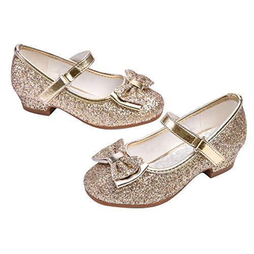 STELLE Girls Mary Jane Glitter Shoes Low Heel Princess Flower Wedding Party Dress Pump Shoes for Kids Toddler(T08-Gold, 13ML)