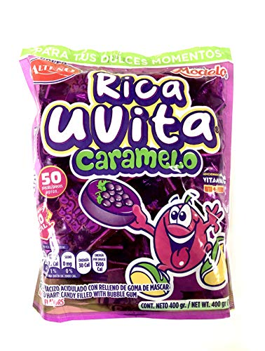 Alteno Hard Candy ,Mexican Candy Assorted Flavors (50 pieces) (Grape filled w/bubble gum)