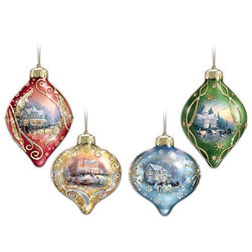 The Bradford Exchange Thomas Kinkade Light Up The Season Illuminated Glass Ornaments: Set of 4