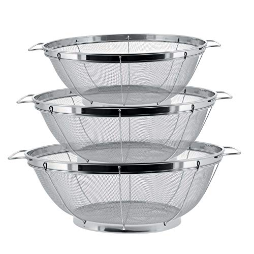U.S. Kitchen Supply - 3 Piece Colander Set - Stainless Steel Mesh Strainer Net Baskets with Handles & Resting Base - 11' 5 Quart, 9.5' 4 Quart and 8.5' 3 Quart - Strain, Drain, Rinse, Steam or Cook