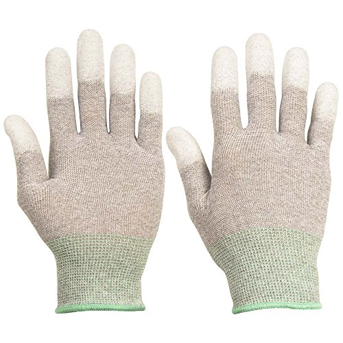 ThxToms ESD Anti Static Gloves, High Resistance Carbon Fiber Protects Your Computer Safe, Large 1 Pair