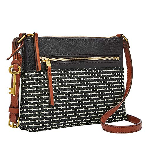 Fossil Women's Fiona Faux Leather Small Crossbody Handbag, Black Stripe