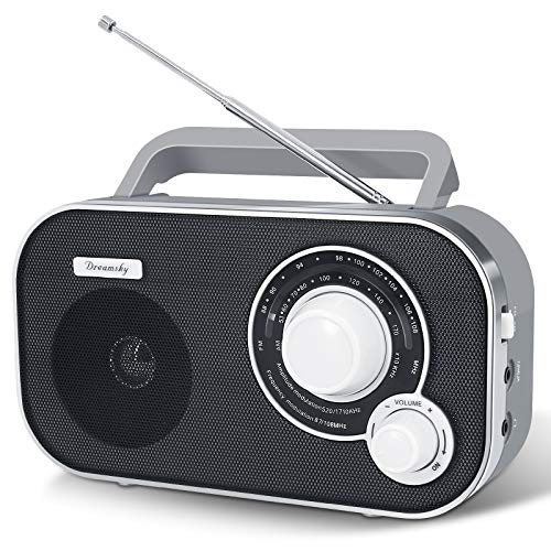 DreamSky Portable AM FM Radio with Great Reception, Battery Operated Radio AC Outlet Powered Radios with Headphone Jack, Handheld Transistor Radios Small Gifts for Seniors Emergency, Indoor Outdoor